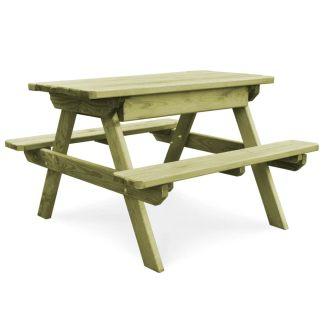vidaXL Lauko iškylos stalas su 2 suoliukais, impreg. pušies mediena