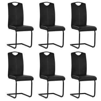 vidaXL Valgomojo kėdės, 6vnt., dirbtinė oda, 43x55x100cm, juodos