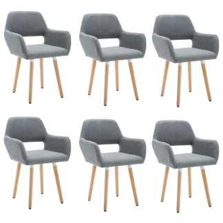 vidaXL Valgomojo kėdės, 6vnt., aud. apmuš., 56x54x80cm, šviesiai pilk.