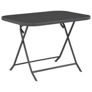 vidaXL Sulankst. lauko valg. stalas, 100x75x72cm, stiklas ir plienas