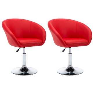 vidaXL Besisuk. valg. kėdės, 2vnt., dirbt. oda, 67,5×58,5x87cm, raud.