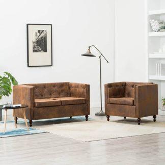 vidaXL Chesterfield sofos kompl., 2d., aud. apmuš., rud., zomš. imit.