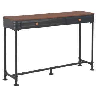 vidaXL Konsol. staliukas su 2 stalčiais, 120x30x76cm, eglės med. mas.