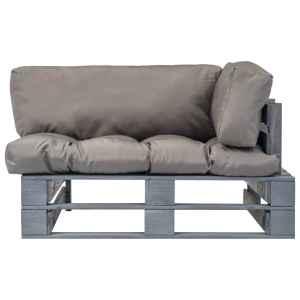 Sodo sofa iš palečių su pilk. sp. pagalvėlėmis, FSC pušies med.