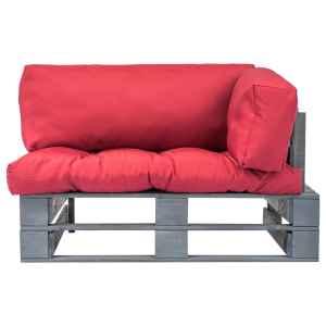 Sodo sofa iš palečių su raud. sp. pagalvėlėmis, FSC pušies med.