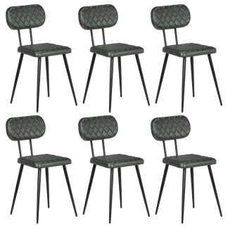 vidaXL Valgomojo kėdės, 6vnt., pilkos spalvos, tikra oda