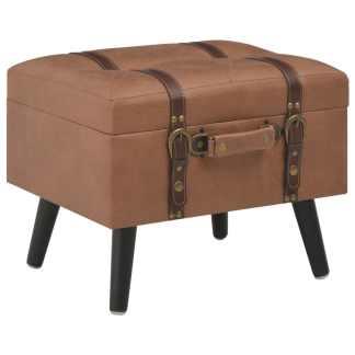 vidaXL Daiktadėžė-taburetė, rudos spalvos, 40 cm, dirbtinė oda