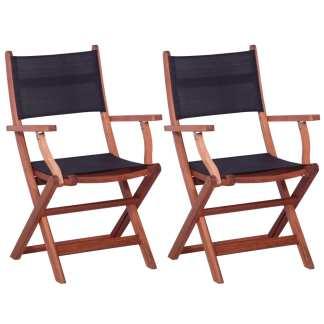 vidaXL Lauko kėdės, 2 vnt., juodos sp., eukalipto med. ir tekstilenas