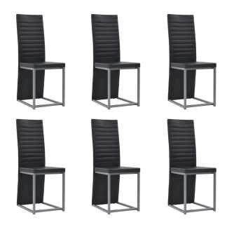 vidaXL Valgomojo kėdės, 6vnt., juodos, 38,5x52x100,5cm, dirbtinė oda