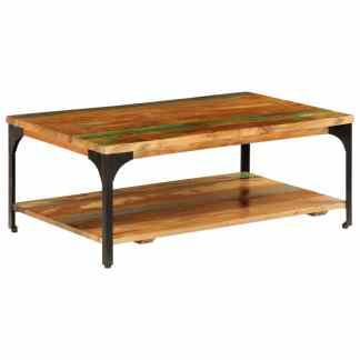 vidaXL Kavos stal. su lentyna, 100x60x35cm, perdirbtos medienos masyv.