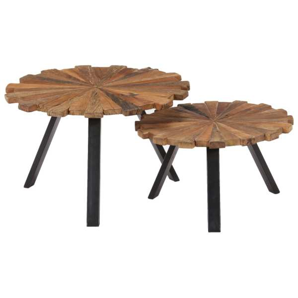 vidaXL Kavos staliukai, 2 vnt., pabėgių medienos masyvas