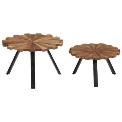Kavos staliukai, 2 vnt., pabėgių medienos masyvas