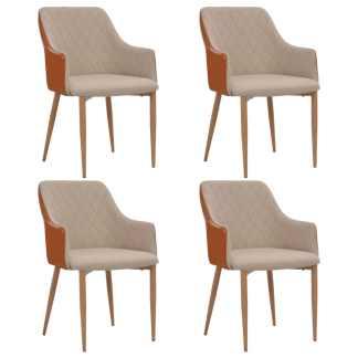 vidaXL Valgomojo kėdės, 4 vnt., pilkos ir rudos sp., audinys