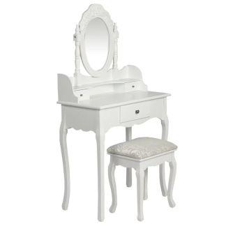 vidaXL Kosmetinis staliukas su veidrodžiu ir kėdute, baltos spalvos