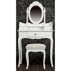Kosmetinis staliukas su veidrodžiu ir kėdute, baltos spalvos