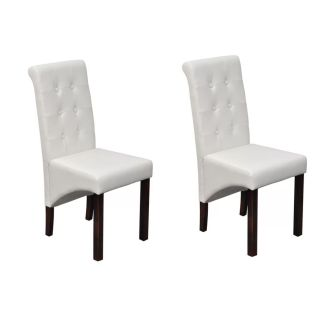 vidaXL Valgomojo kėdės, 2 vnt., dirbtinė oda, baltos
