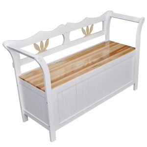 vidaXL Suoliukas daiktadėžė, 126 x 42 x 75 cm, medinis, baltas