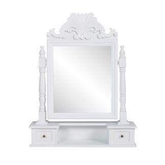 vidaXL Kosmetinis staliukas su stač. formos besisuk. veidrodžiu, MDF