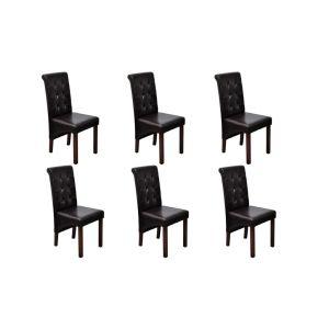 Valgomojo kėdės, 6 vnt., rudos, aukštos kokybės