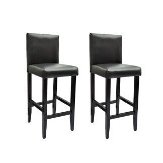 vidaXL Baro kėdės, 2 vnt., dirbtinė oda, juodos