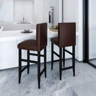vidaXL Baro kėdės, 2 vnt., dirbtinė oda, rudos