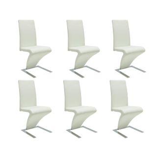 vidaXL Valgomojo kėdės, 6 vnt., dirbtinė oda, baltos