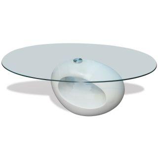 vidaXL Kavos stal. su ovaliu stikliniu stalv., ypač blizgus, baltas