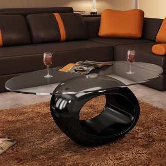 vidaXL Kavos staliukas su ovaliu stikliniu stalviršiu, ypač blizgus, juodas