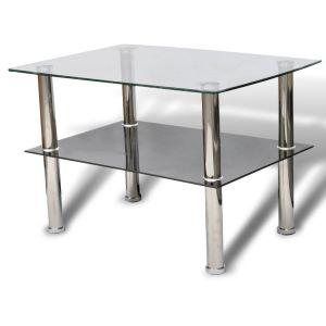 Kavos staliukas, stiklinis, 2 aukštų