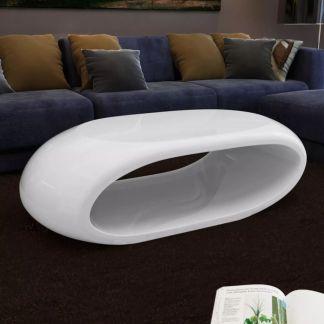 vidaXL Kavos stal., stiklo pluoštas, labai blizgus, baltas