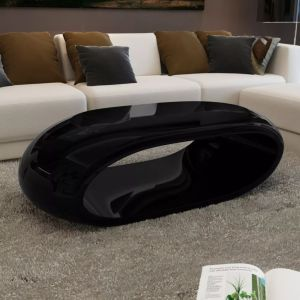 vidaXL Kavos stal., stiklo pluoštas, labai blizgus, juodas