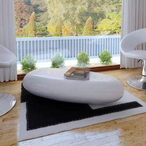 vidaXL Kavos staliukas, stiklo pluoštas, l.blizgus, balt.