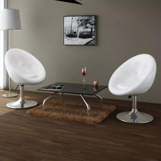 vidaXL Baro kėdės, 2 vnt., dirbtinė oda, baltos