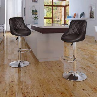 vidaXL Baro kėdės, 2 vnt., rudos
