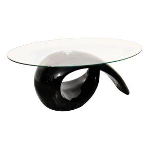 Kavos stal. su ovaliu stikl. stalviršiu, ypač blizgus, juodas