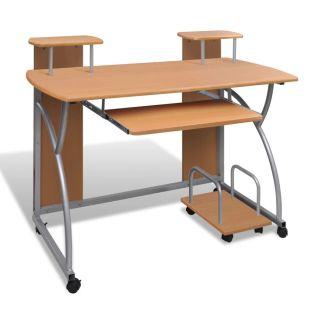 Mobilus Kompiuterio Stalas su Ištraukiamu Padėklu Klaviatūrai, Rudas