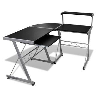 Kampinis Kompiuterio Stalas su Ištraukiamu Padėklu Klaviatūrai, Juodas
