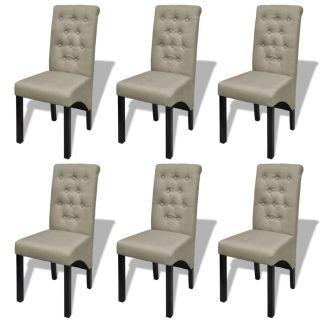 vidaXL Valgomojo kėdės, 6 vnt., audinys, smėlio spalvos