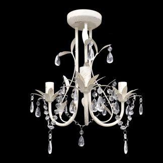Elegantiškas Lubų Šviestuvas, Sietynas, 3 Lempučių, Baltas