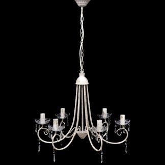 Elegantiškas Lubų Šviestuvas, Sietynas, 6 Lempučių, Baltas