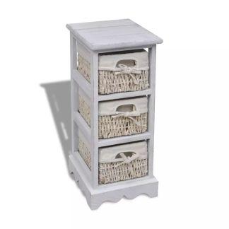 vidaXL Medinė spintelė su 3 pintais krepšiais, balta