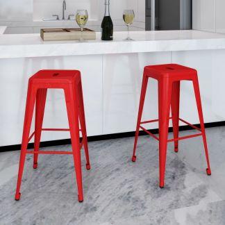 vidaXL Baro kėdės, 2 vnt., kvadratinės, raudonos