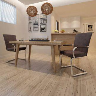 vidaXL Valgomojo kėdės, 2 vnt., dirbtinė oda, rudos