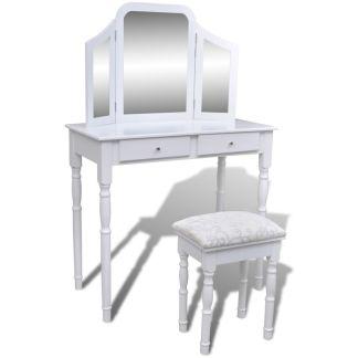 vidaXL Kosmetinis staliukas 3-1, su veidrodžiu ir kėdute, 2 stalčiai, baltas