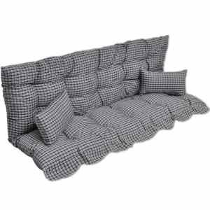 vidaXL 4 dal. pagalvėlių rinkinys supamai kėdei, mėl. ir balt. audinys