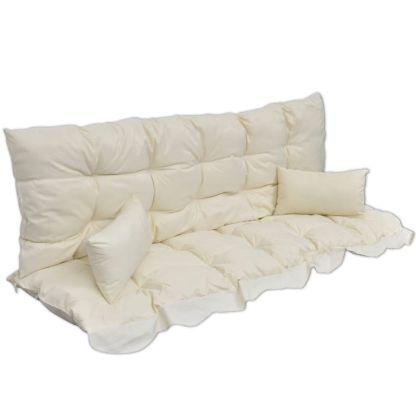 vidaXL 4 dal. pagalvėlių rinkinys supamai kėdei, krem. baltas audinys