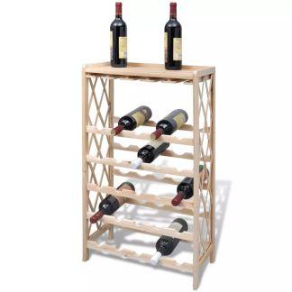 vidaXL Vyno laikiklis 25 buteliams, medinis