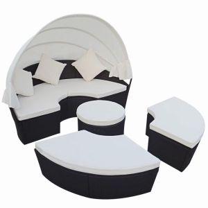 Lauko gultas su pagalvėlėmis, poliratanas, juodas
