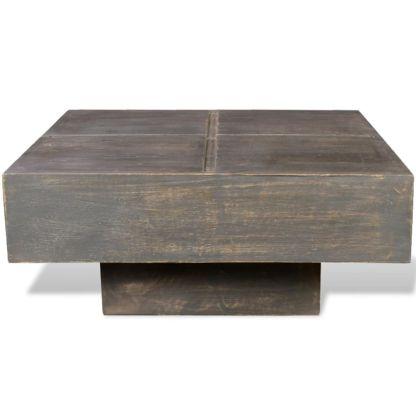 Kavos staliukas, tamsiai rudas, kvadratinis, mango mediena