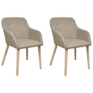 vidaXL Valgomojo kėdės, 2 vnt., kreminis audinys ir ąžuolo med. masyv.